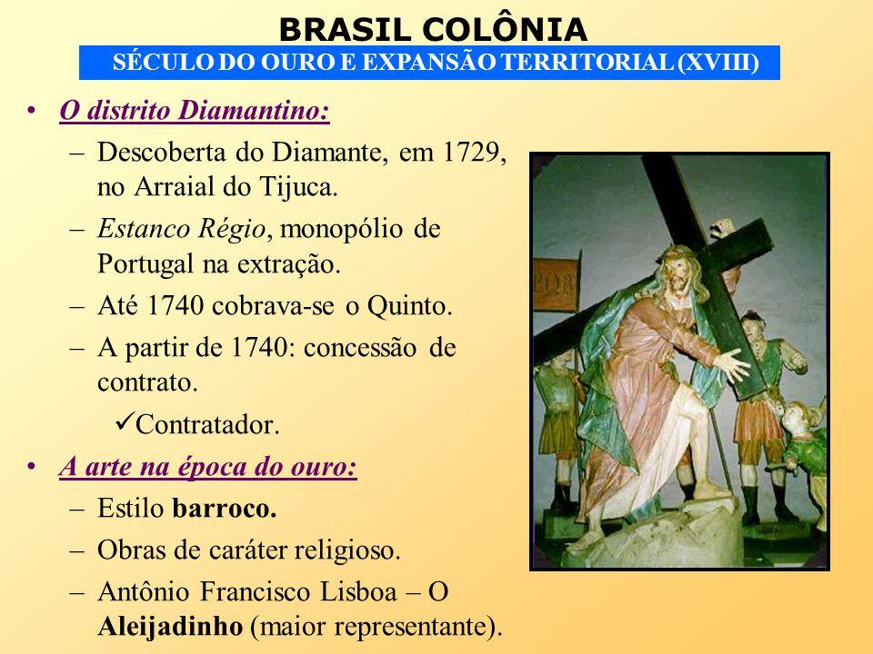 BRASIL COLÔNIA SÉCULO DO OURO E EXPANSÃO TERRITORIAL (XVIII) O distrito Diamantino: –Descoberta do Diamante, em 1729, no Arraial do Tijuca. –Estanco R