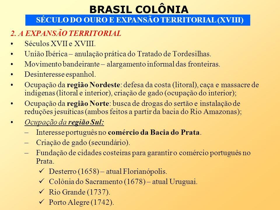 BRASIL COLÔNIA SÉCULO DO OURO E EXPANSÃO TERRITORIAL (XVIII) 2. A EXPANSÃO TERRITORIAL Séculos XVII e XVIII. União Ibérica – anulação prática do Trata