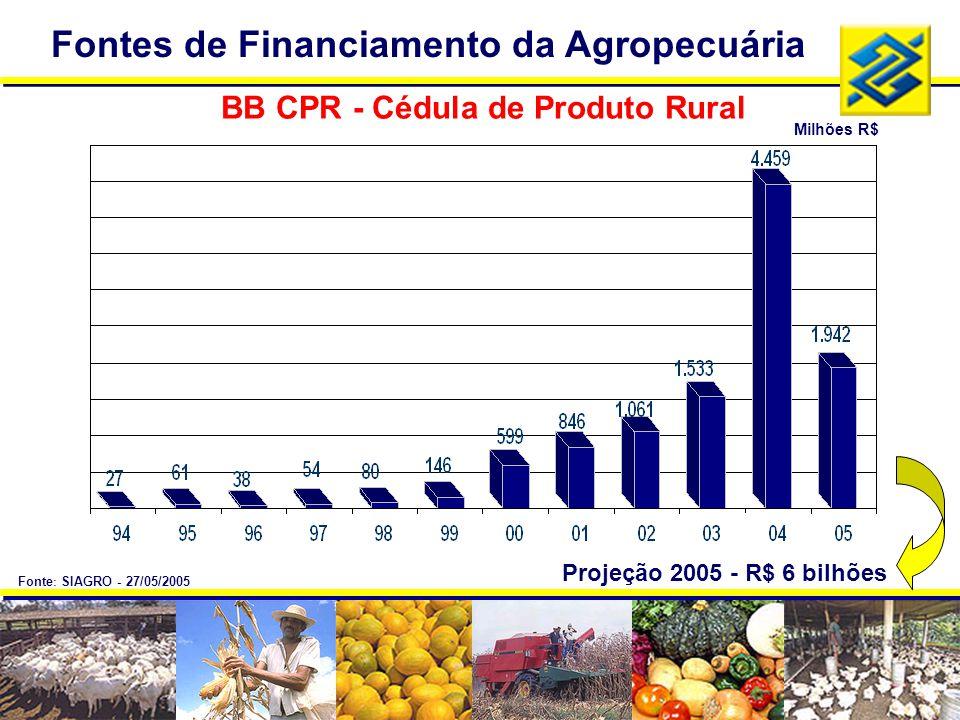 BB CPR - Cédula de Produto Rural Projeção 2005 - R$ 6 bilhões Milhões R$ Fontes de Financiamento da Agropecuária Fonte : SIAGRO - 27/05/2005