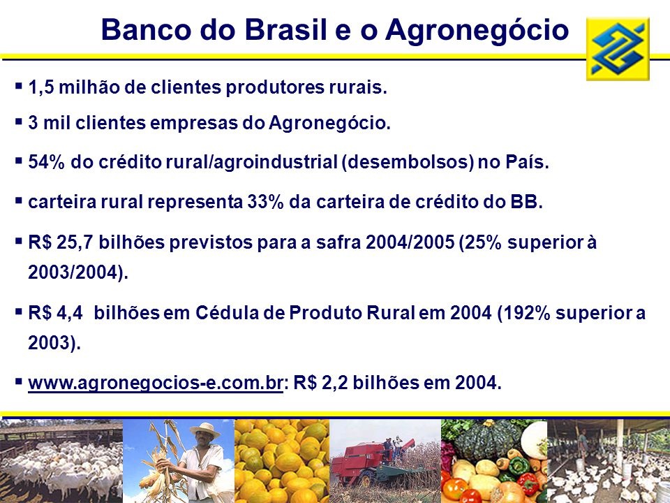 Banco do Brasil e o Agronegócio  1,5 milhão de clientes produtores rurais.  3 mil clientes empresas do Agronegócio.  54% do crédito rural/agroindus
