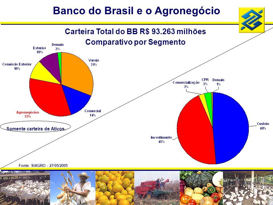 Banco do Brasil e o Agronegócio Carteira Total do BB R$ 93.263 milhões Comparativo por Segmento Somente carteira de Ativos. Fonte : SIAGRO - 27/05/200
