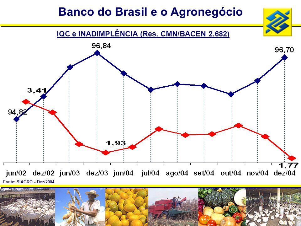 IQC e INADIMPLÊNCIA (Res. CMN/BACEN 2.682) Banco do Brasil e o Agronegócio Fonte : SIAGRO - Dez/2004