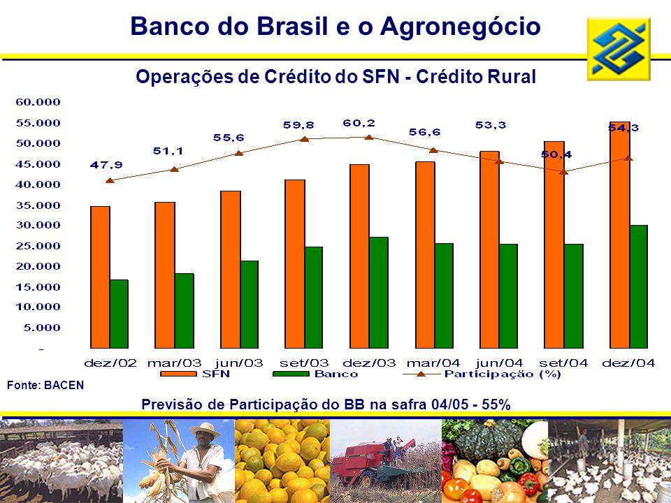 Previsão de Participação do BB na safra 04/05 - 55% Operações de Crédito do SFN - Crédito Rural Banco do Brasil e o Agronegócio Fonte: BACEN