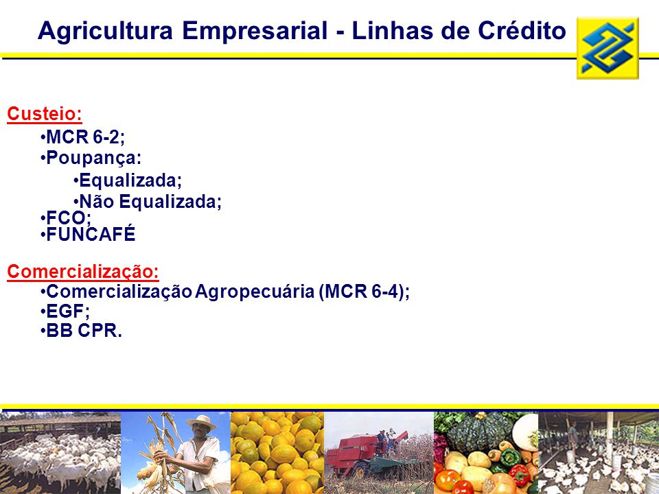 Agricultura Empresarial - Linhas de Crédito Custeio: MCR 6-2; Poupança: Equalizada; Não Equalizada; FCO; FUNCAFÉ Comercialização: Comercialização Agro