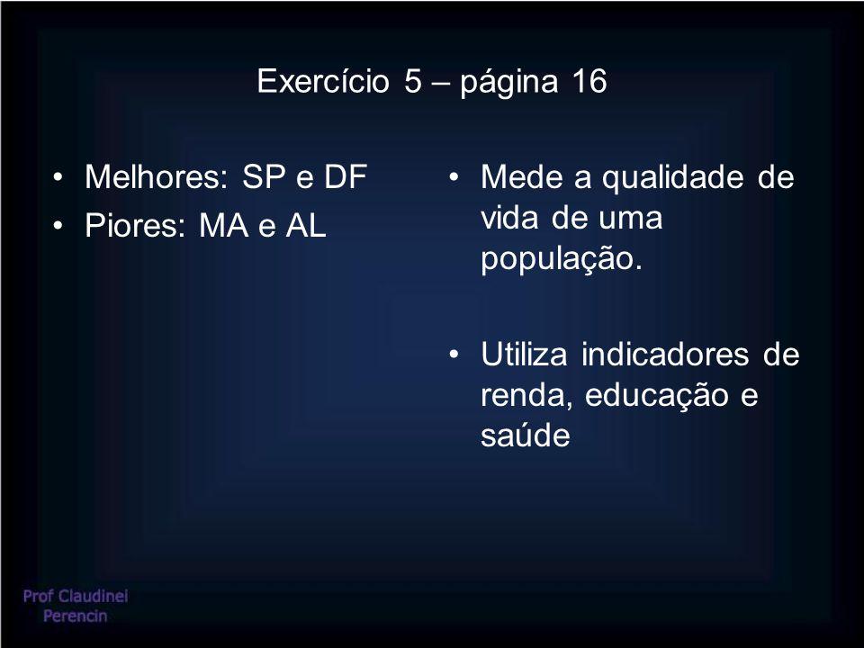 Exercício 5 – página 16 Melhores: SP e DF Piores: MA e AL Mede a qualidade de vida de uma população. Utiliza indicadores de renda, educação e saúde