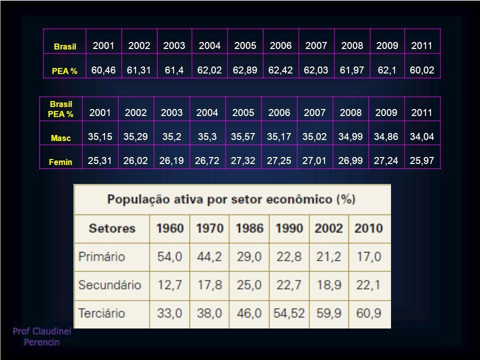 Brasil 2001200220032004200520062007200820092011 PEA % 60,4661,3161,462,0262,8962,4262,0361,9762,160,02 Brasil PEA % 2001200220032004200520062007200820