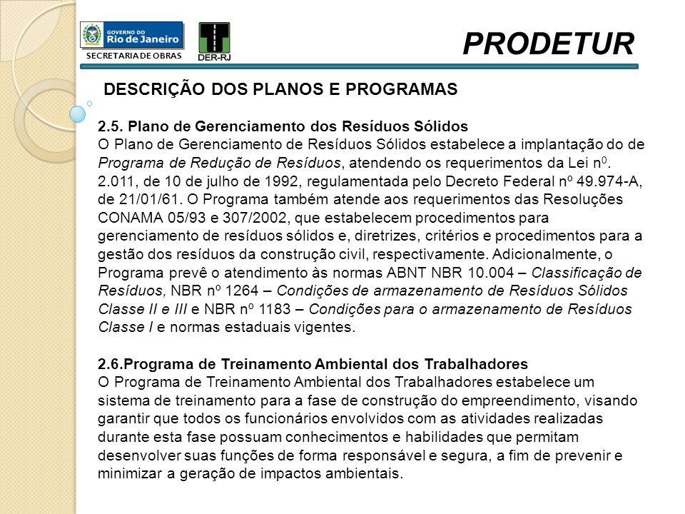 DESCRIÇÃO DOS PLANOS E PROGRAMAS 2.5. Plano de Gerenciamento dos Resíduos Sólidos O Plano de Gerenciamento de Resíduos Sólidos estabelece a implantaçã