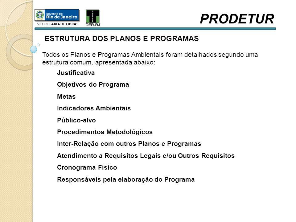 ESTRUTURA DOS PLANOS E PROGRAMAS Todos os Planos e Programas Ambientais foram detalhados segundo uma estrutura comum, apresentada abaixo: Justificativ