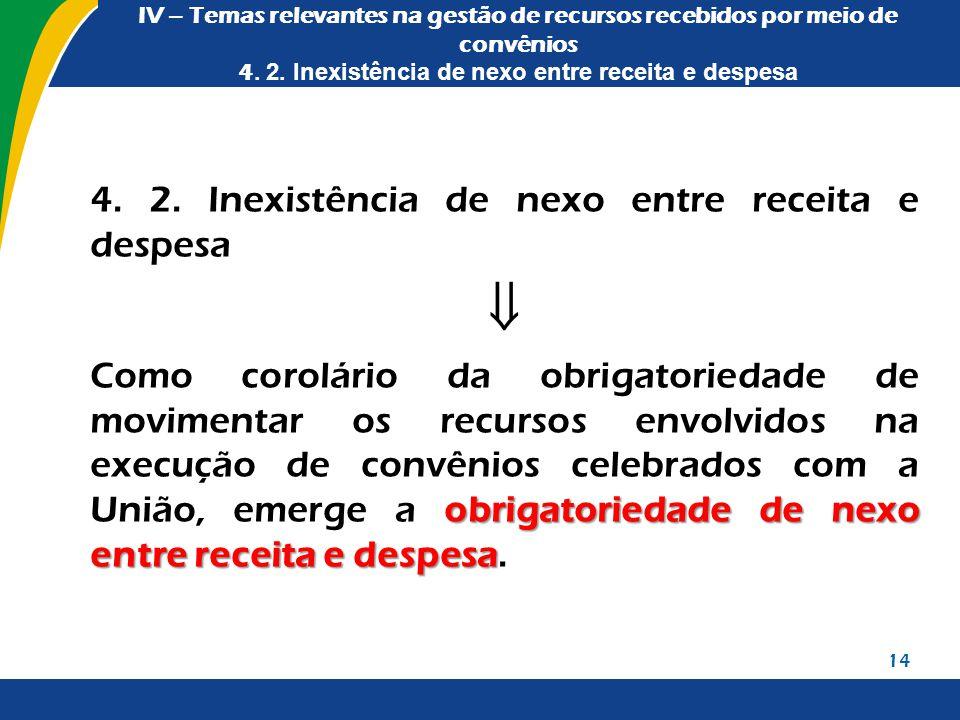 IV – Temas relevantes na gestão de recursos recebidos por meio de convênios 4. 2. Inexistência de nexo entre receita e despesa 4. 2. Inexistência de n