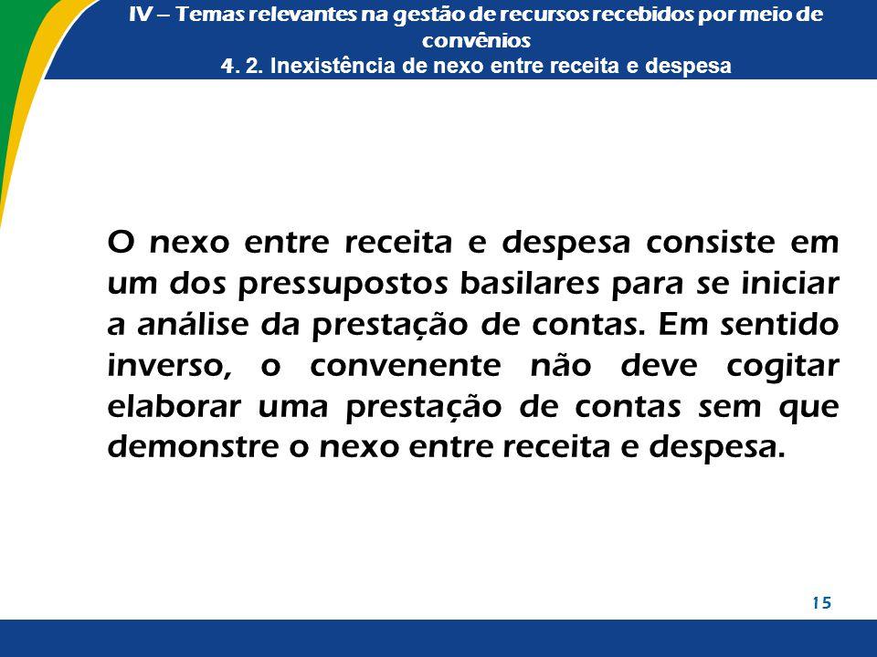 IV – Temas relevantes na gestão de recursos recebidos por meio de convênios 4. 2. Inexistência de nexo entre receita e despesa O nexo entre receita e