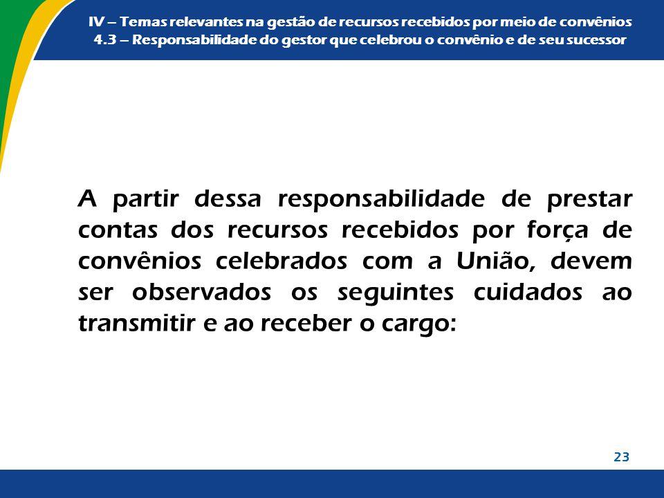 IV – Temas relevantes na gestão de recursos recebidos por meio de convênios 4.3 – Responsabilidade do gestor que celebrou o convênio e de seu sucessor