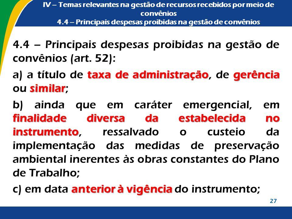 IV – Temas relevantes na gestão de recursos recebidos por meio de convênios 4.4 – Principais despesas proibidas na gestão de convênios 4.4 – Principai
