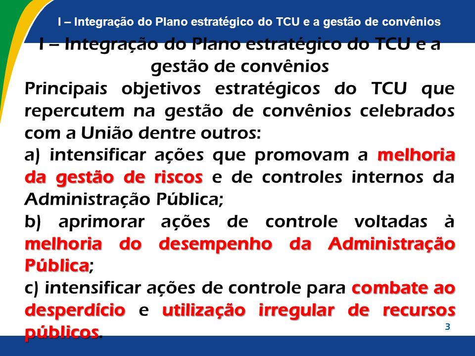 I – Integração do Plano estratégico do TCU e a gestão de convênios Principais objetivos estratégicos do TCU que repercutem na gestão de convênios cele