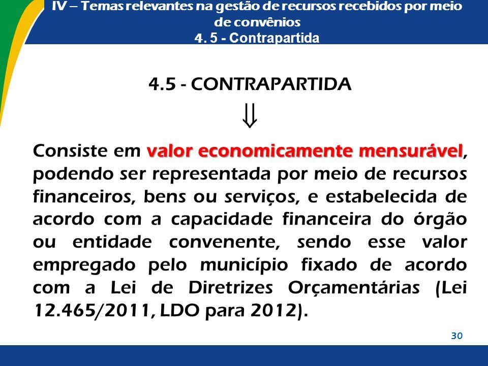 IV – Temas relevantes na gestão de recursos recebidos por meio de convênios 4. 5 - Contrapartida 4.5 - CONTRAPARTIDA  valor economicamente mensurável