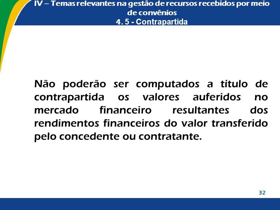 IV – Temas relevantes na gestão de recursos recebidos por meio de convênios 4. 5 - Contrapartida Não poderão ser computados a título de contrapartida