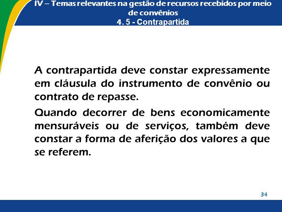 IV – Temas relevantes na gestão de recursos recebidos por meio de convênios 4. 5 - Contrapartida A contrapartida deve constar expressamente em cláusul