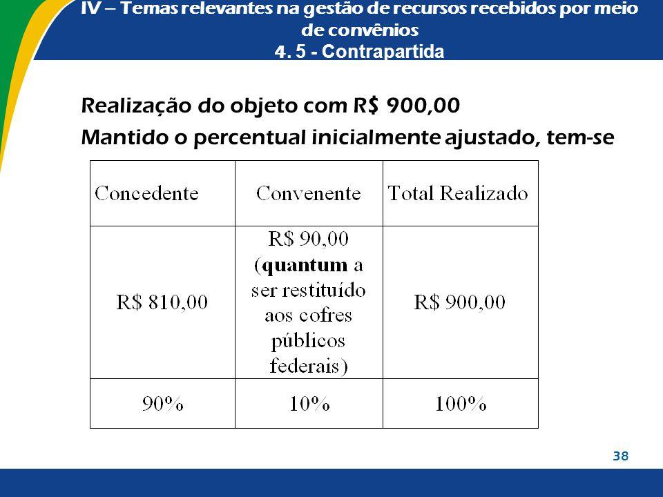 IV – Temas relevantes na gestão de recursos recebidos por meio de convênios 4. 5 - Contrapartida Realização do objeto com R$ 900,00 Mantido o percentu