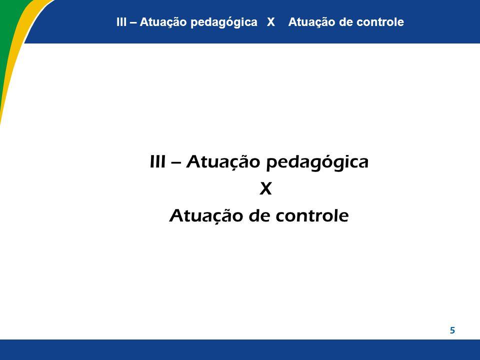 III – Atuação pedagógica X Atuação de controle III – Atuação pedagógica X Atuação de controle 5