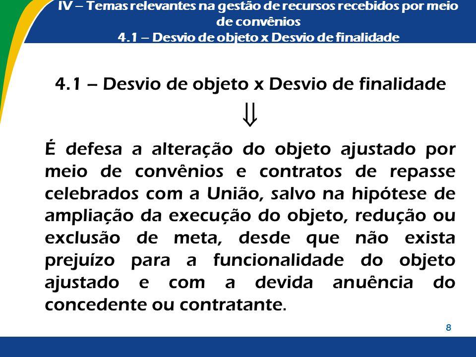 IV – Temas relevantes na gestão de recursos recebidos por meio de convênios 4.1 – Desvio de objeto x Desvio de finalidade 4.1 – Desvio de objeto x Des