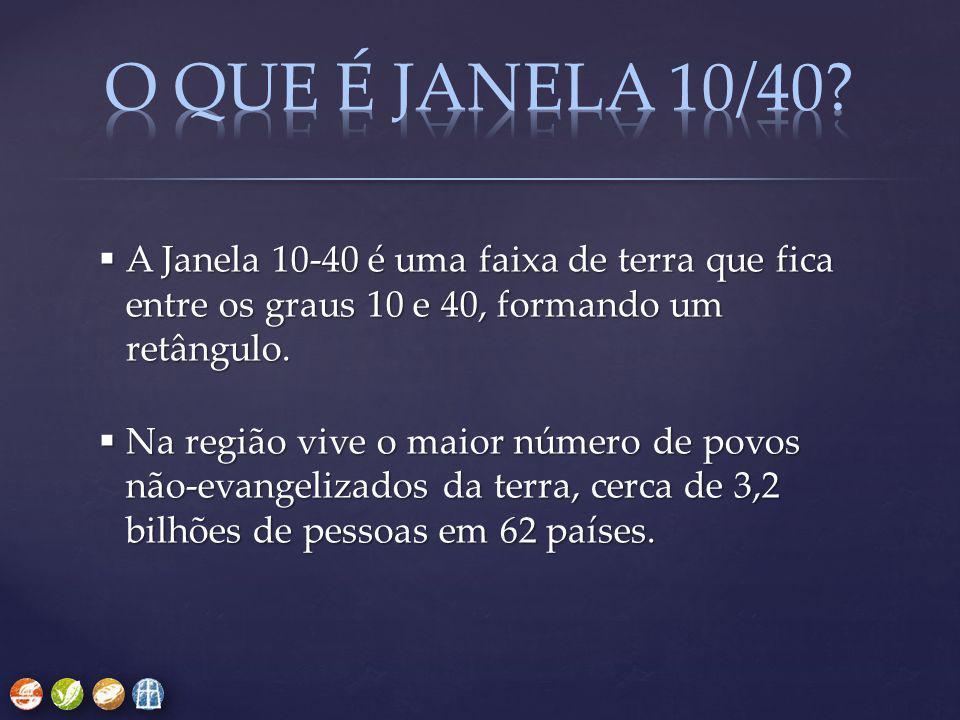 A Janela 10-40 é uma faixa de terra que fica entre os graus 10 e 40, formando um retângulo.  Na região vive o maior número de povos não-evangelizad