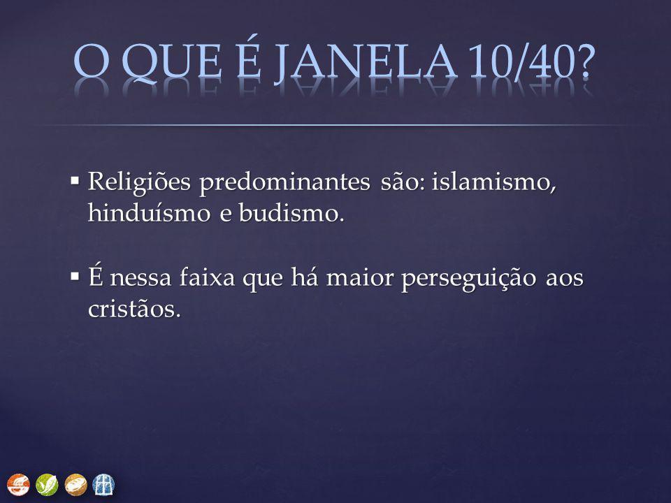  Religiões predominantes são: islamismo, hinduísmo e budismo.  É nessa faixa que há maior perseguição aos cristãos.