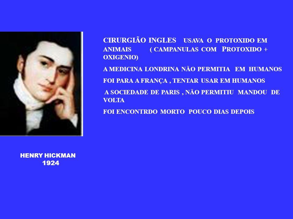 PROTOXIDO DE NITROGENIO 1773 JOSEH PRIESTLEY FARMACEUTICO INGLES -USAVA O N02 PORQUE ERA AGRADAVEL E FAZIA RIR - GAS HILARIANTE DEIXOU ESCRITO 1799 O GAS HILARIANTE TEM A PROPRIEDADE DE ACALMAR A DOR E DEVERIA SER EMPREGADO NA MEDICINA HUMPHRY DAVY MICHEL FARADAY - 1918 O ETER POSSUI EFEITOS ESTUPEFACIENTE E PODE SER USADO NA MEDICINA