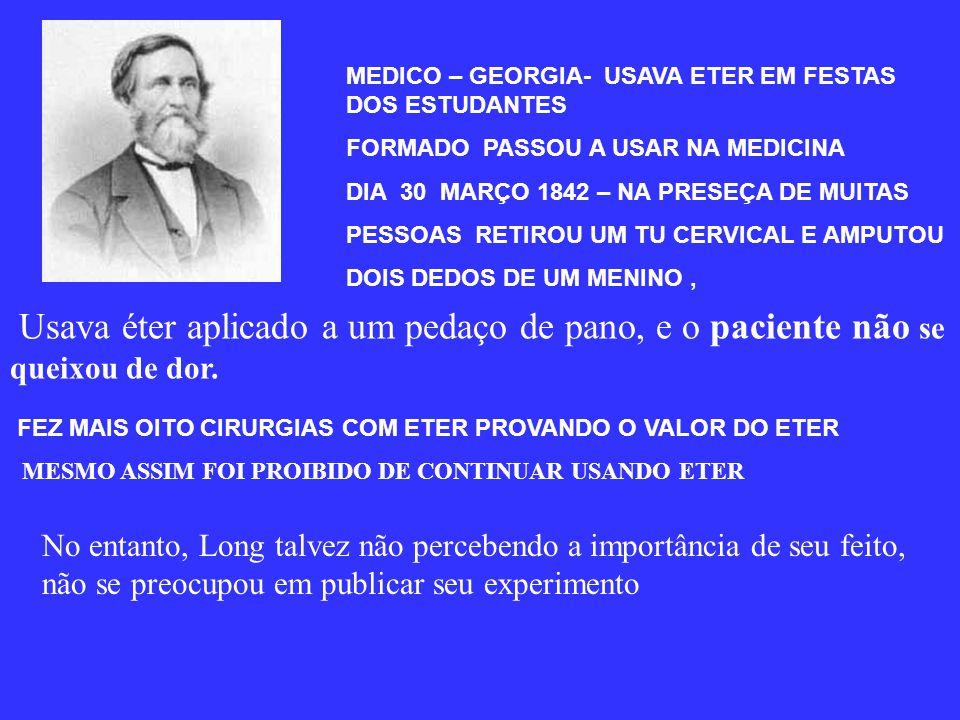 HENRY HICKMAN 1924 CIRURGIÃO INGLES USAVA O PROTOXIDO EM ANIMAIS ( CAMPANULAS COM P ROTOXIDO + OXIGENIO) A MEDICINA LONDRINA NÃO PERMITIA EM HUMANOS F