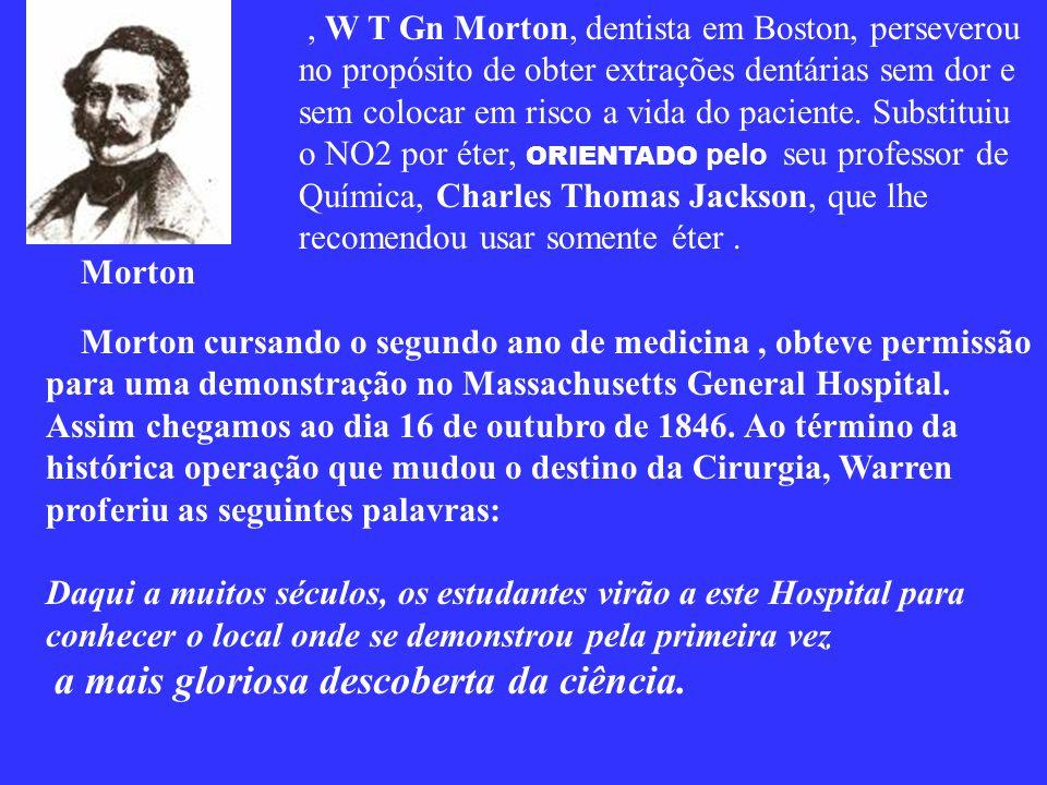 LONG viveu o resto de sua vida arrependido por não ter divulgado sua descoberta, realizada em 1842, portanto, quatro anos antes de Morton, e faleceu s