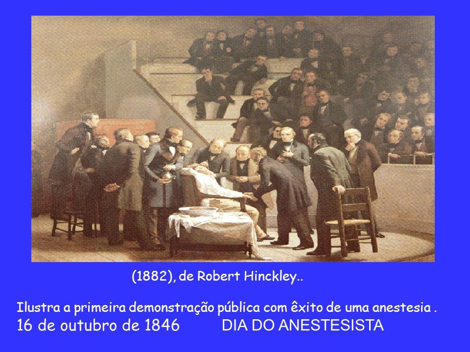 (1882), de Robert Hinckley..Ilustra a primeira demonstração pública com êxito de uma anestesia.