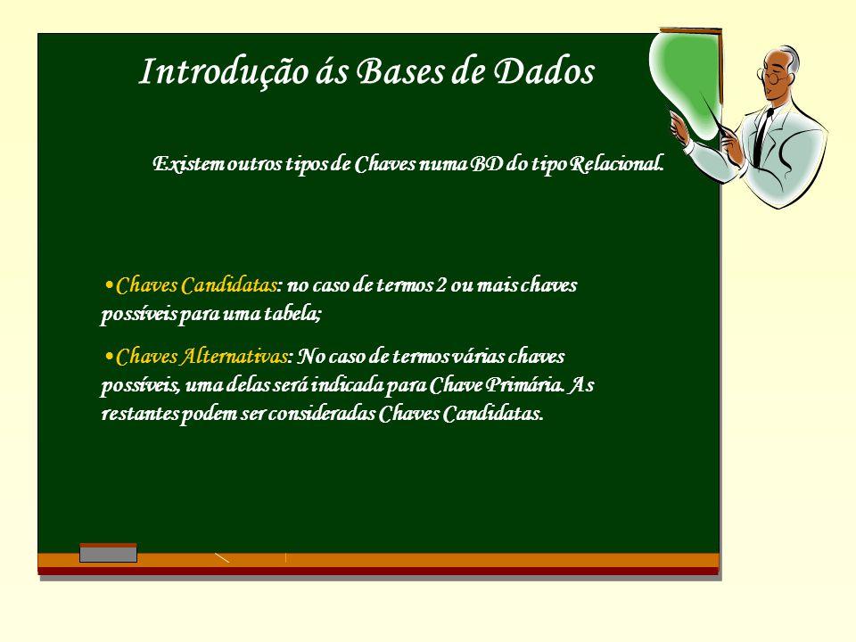 Introdução ás Bases de Dados Existem outros tipos de Chaves numa BD do tipo Relacional.