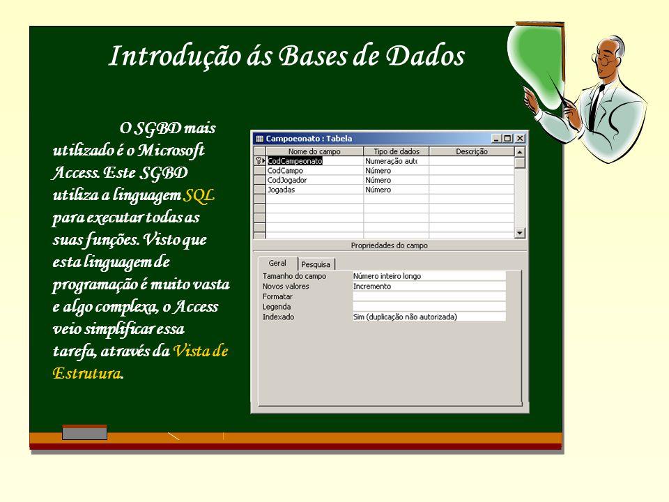 Introdução ás Bases de Dados O SGBD mais utilizado é o Microsoft Access. Este SGBD utiliza a linguagem SQL para executar todas as suas funções. Visto