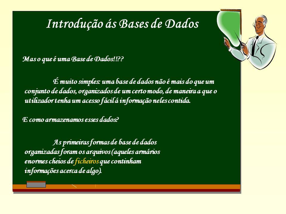 Introdução ás Bases de Dados Mas o que é uma Base de Dados!!?.