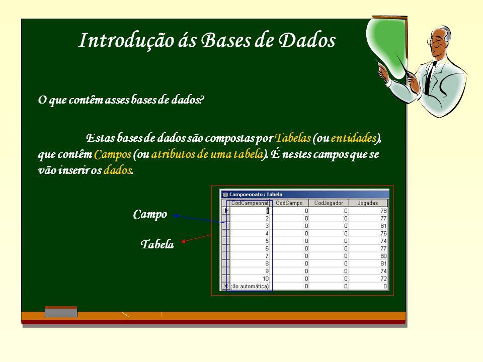 Introdução ás Bases de Dados O que contêm asses bases de dados? Estas bases de dados são compostas por Tabelas (ou entidades), que contêm Campos (ou a