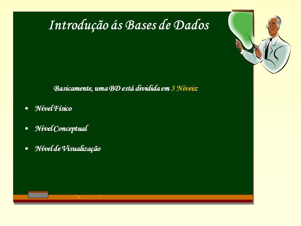 Introdução ás Bases de Dados Basicamente, uma BD está dividida em 3 Níveis: Nível Físico Nível Conceptual Nível de Visualização