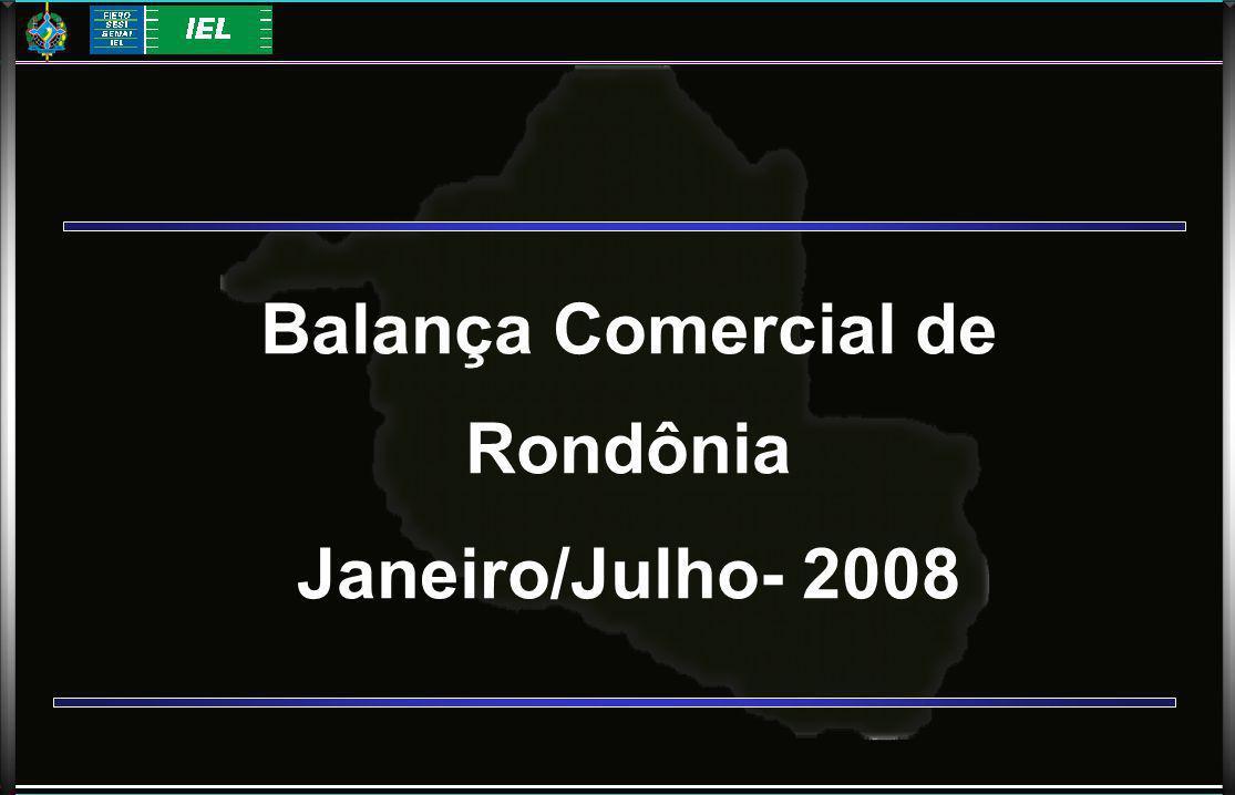 Balança Comercial de Rondônia Janeiro/Julho- 2008
