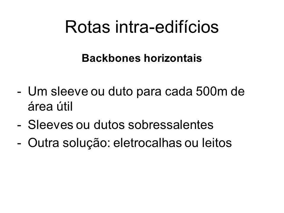 Rotas intra-edifícios Backbones horizontais -Um sleeve ou duto para cada 500m de área útil -Sleeves ou dutos sobressalentes -Outra solução: eletrocalh