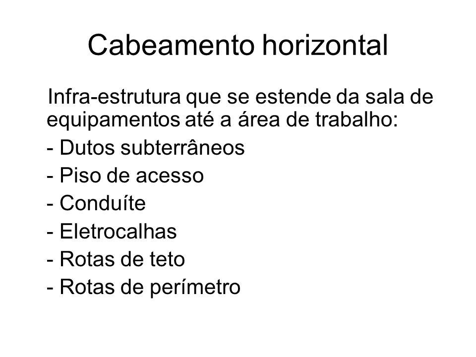 Cabeamento horizontal Infra-estrutura que se estende da sala de equipamentos até a área de trabalho: - Dutos subterrâneos - Piso de acesso - Conduíte