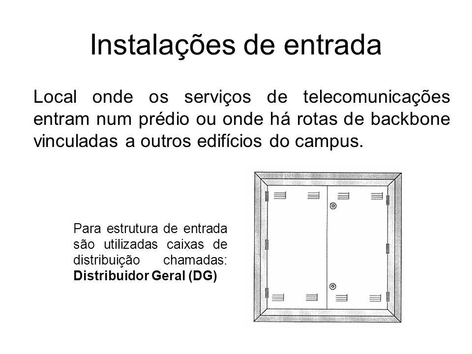 Distribuidor Geral (DG) Caixas de distribuição: Local onde os blocos de conexão contendo os serviços internos de telefonia são instalados Caixas de DG: Utilizadas para instalação dos cabos externos fornecidos pela concessionária