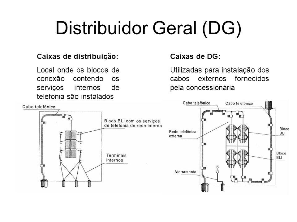 Distribuidor Geral (DG) Caixas de distribuição: Local onde os blocos de conexão contendo os serviços internos de telefonia são instalados Caixas de DG