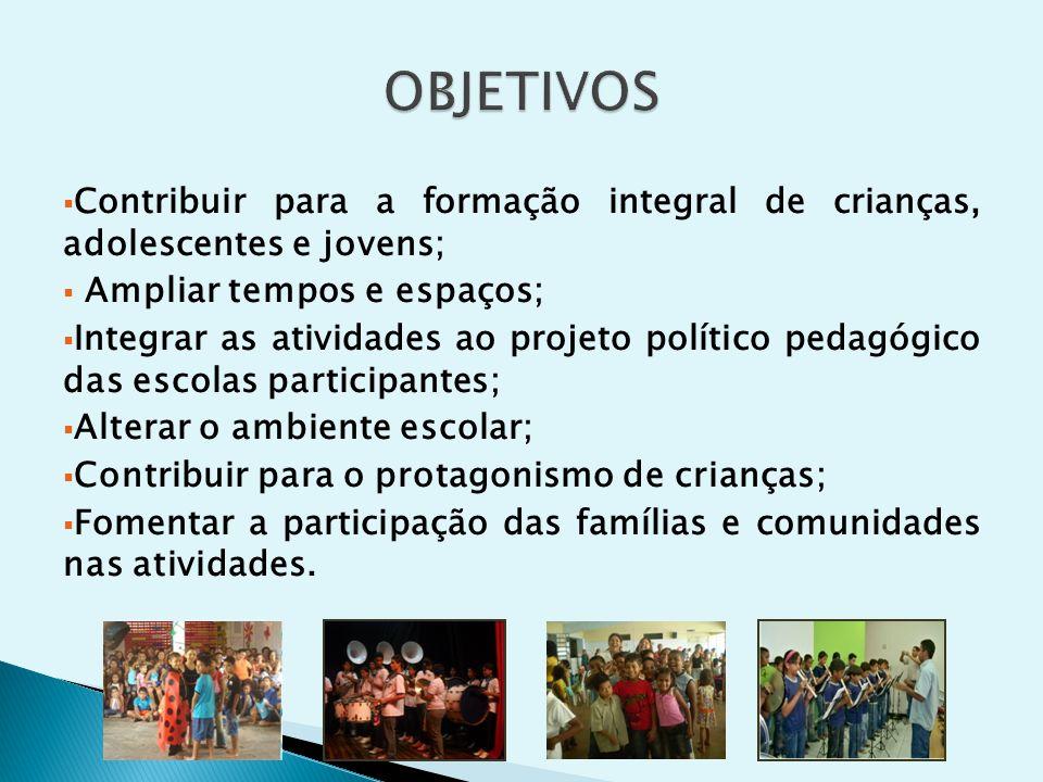 Cultura e Arte; Esporte, Lazer e Recreação; Qualificação para o Trabalho/Geração de Renda; Formação Educativa Complementar