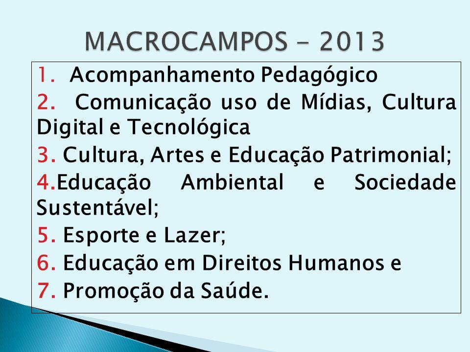 1. Acompanhamento Pedagógico 2. Comunicação uso de Mídias, Cultura Digital e Tecnológica 3.