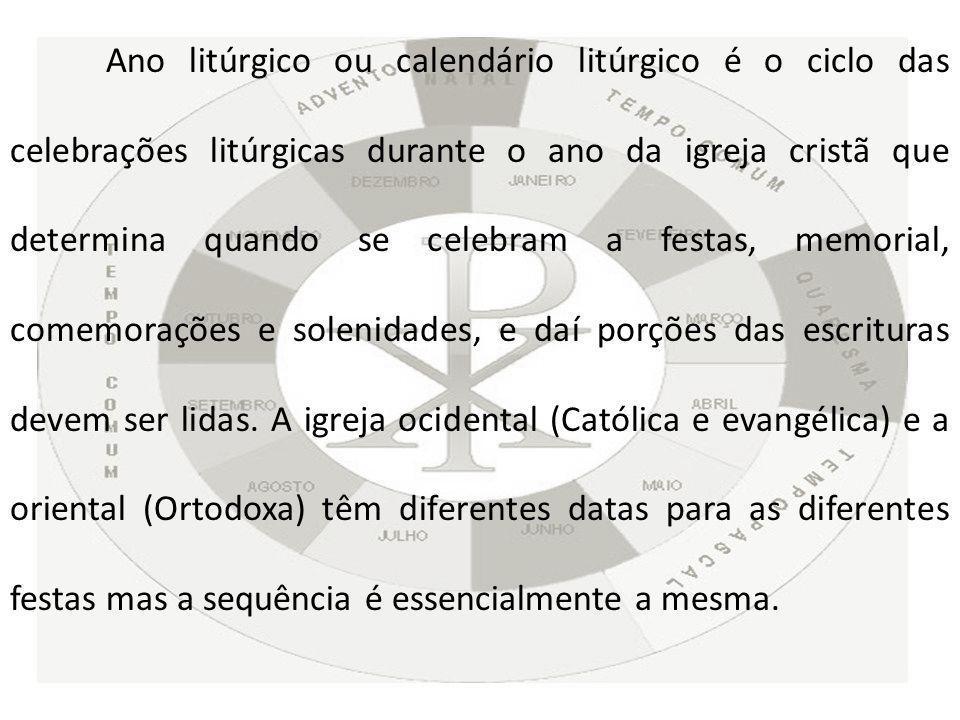 DIFERENÇA ENTRE O ANO CIVIL E O ANO LITÚRGICO Durante o ano inteiro celebramos a vida de Cristo, desde a sua em Encarnação no seio da Virgem Maria, passando pelo seu Nascimento, Paixão, Morte, Ressurreição, até a sua Ascensão e a vinda do Espírito Santo.