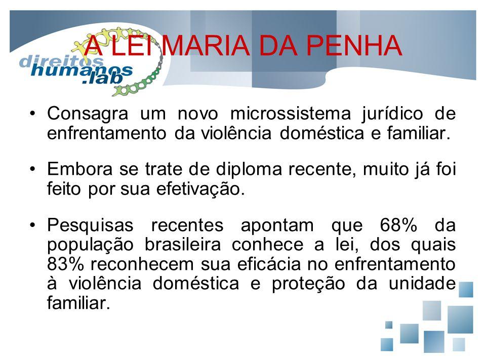 A LEI MARIA DA PENHA Consagra um novo microssistema jurídico de enfrentamento da violência doméstica e familiar. Embora se trate de diploma recente, m