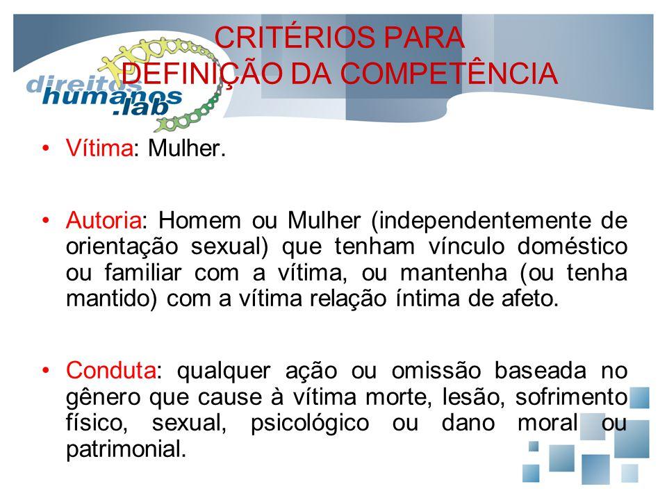 CRITÉRIOS PARA DEFINIÇÃO DA COMPETÊNCIA Vítima: Mulher. Autoria: Homem ou Mulher (independentemente de orientação sexual) que tenham vínculo doméstico