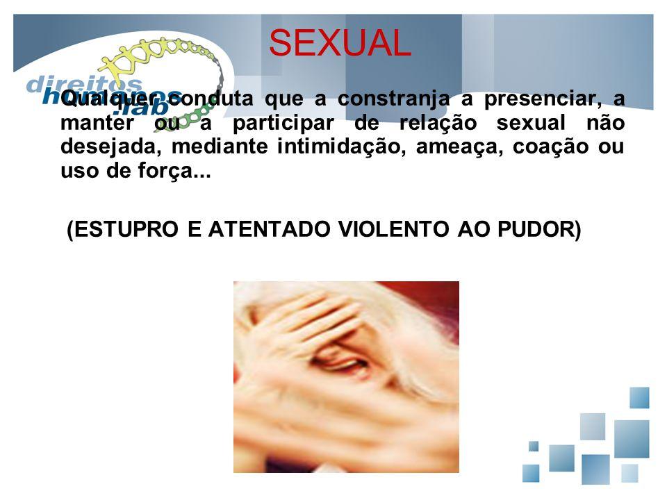 SEXUAL Qualquer conduta que a constranja a presenciar, a manter ou a participar de relação sexual não desejada, mediante intimidação, ameaça, coação o