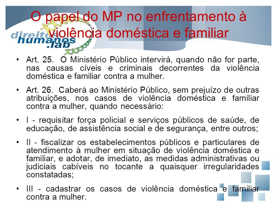 O papel do MP no enfrentamento à violência doméstica e familiar Art. 25. O Ministério Público intervirá, quando não for parte, nas causas cíveis e cri