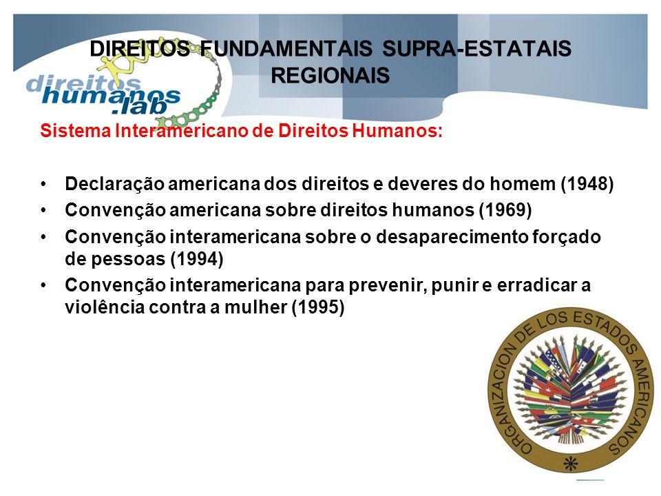 DIREITOS FUNDAMENTAIS SUPRA-ESTATAIS REGIONAIS Sistema Interamericano de Direitos Humanos: Declaração americana dos direitos e deveres do homem (1948)