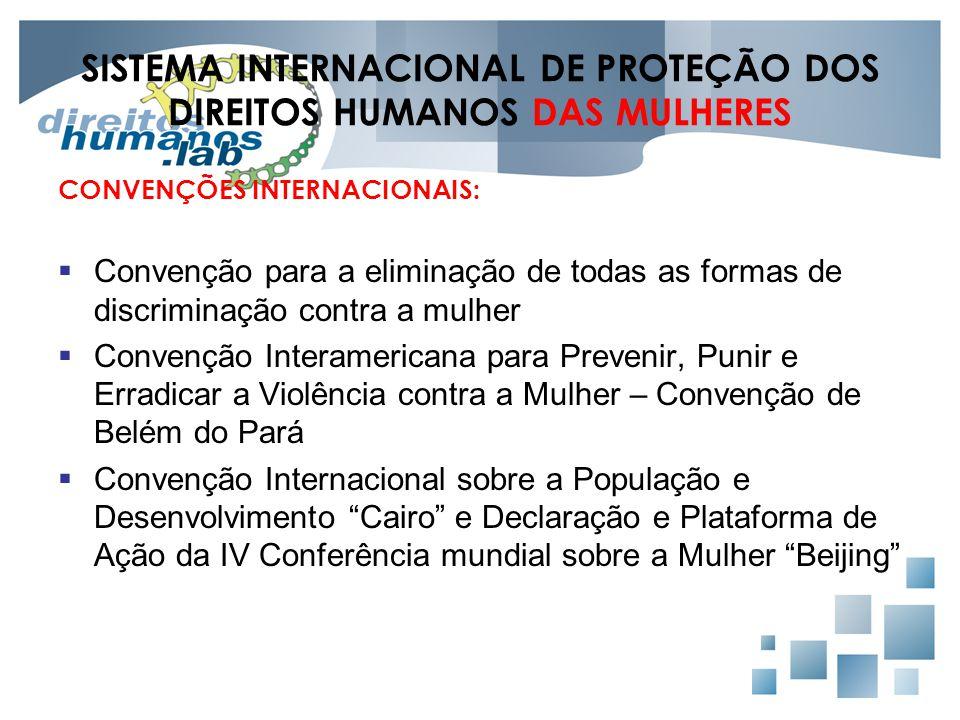 SISTEMA INTERNACIONAL DE PROTEÇÃO DOS DIREITOS HUMANOS DAS MULHERES CONVENÇÕES INTERNACIONAIS:  Convenção para a eliminação de todas as formas de dis