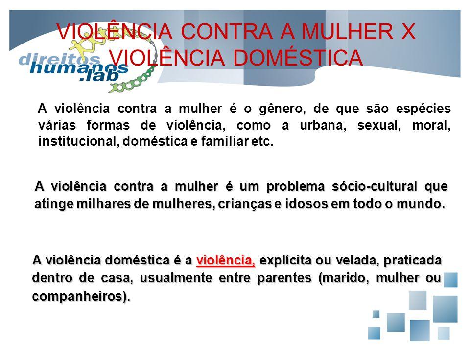VIOLÊNCIA CONTRA A MULHER X VIOLÊNCIA DOMÉSTICA A violência contra a mulher é o gênero, de que são espécies várias formas de violência, como a urbana,