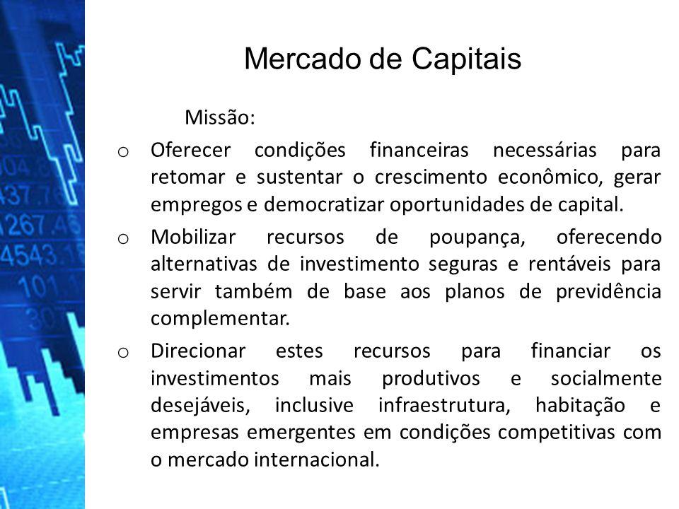 Missão: o Oferecer condições financeiras necessárias para retomar e sustentar o crescimento econômico, gerar empregos e democratizar oportunidades de capital.